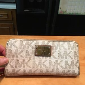 MK Dotted Canvas Coated Clutch Wallet